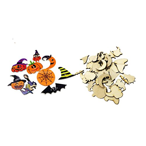 Fityle 100 Pieces Assorted Wooden Halloween Shapes Decoration Craft Wood Buttons Pumpkin Specter Bat Spider Net Shapes Mixed Colored 2 Holes]()