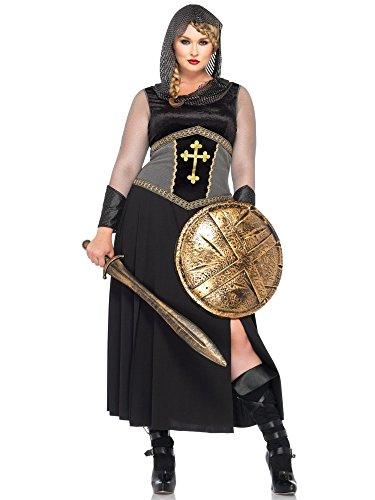Of Fancy Joan Dress Arc Costume (Leg Avenue Women's Plus-Size Joan Of Arc Costume, Black/Silver,)