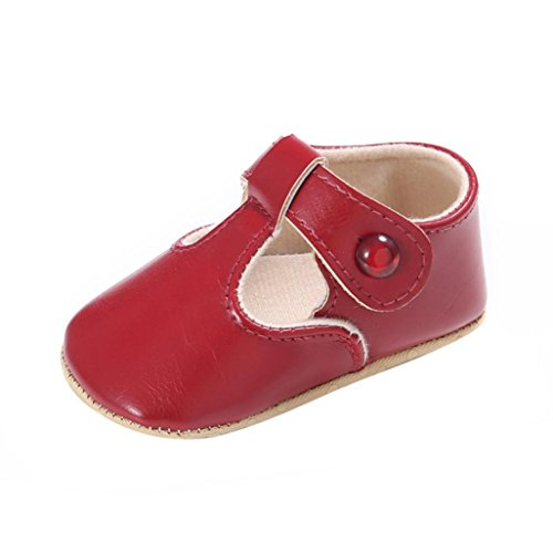 [Coper Newborn Toddler Baby Boy Girl Leather Soft Sole Non-slip Shoes (Red, 0~6 Month)] (Hearts Costumes Shoe)