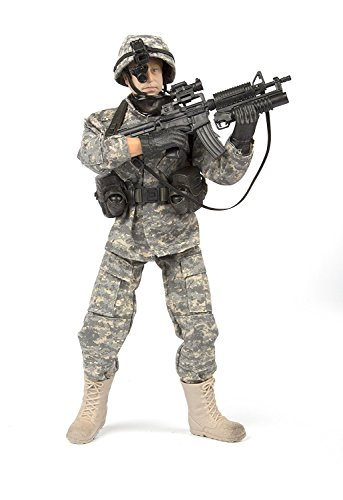 Army Men by World Peacekeepers Action Figures: 30-Pt. Full-Motion 12-Inch Army Toys w/ Ninja Grip, M4 Military Carbine, Grenades & Packs (Airborne Army (Army Rangers Gear)