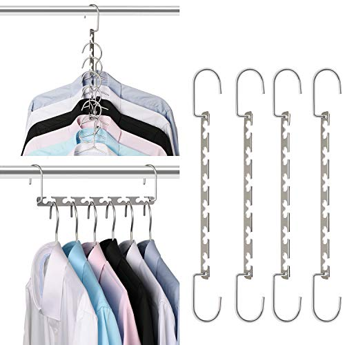 Giftol Space Saving Hangers Metal Hanger Magic Cascading Hanger Closet Clothes Organizer(4 Pack) (As Seen On Tv Hangers That Save Space)