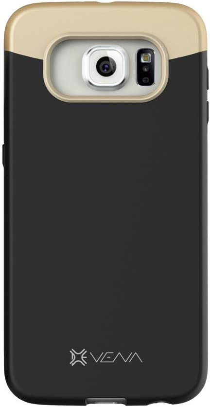 Samsung Galaxy S6 Case, VENA [iSlide] Slim Fit Hard Rubber-Coated Case Cover for Samsung Galaxy S6 (Black/Champagne Gold)