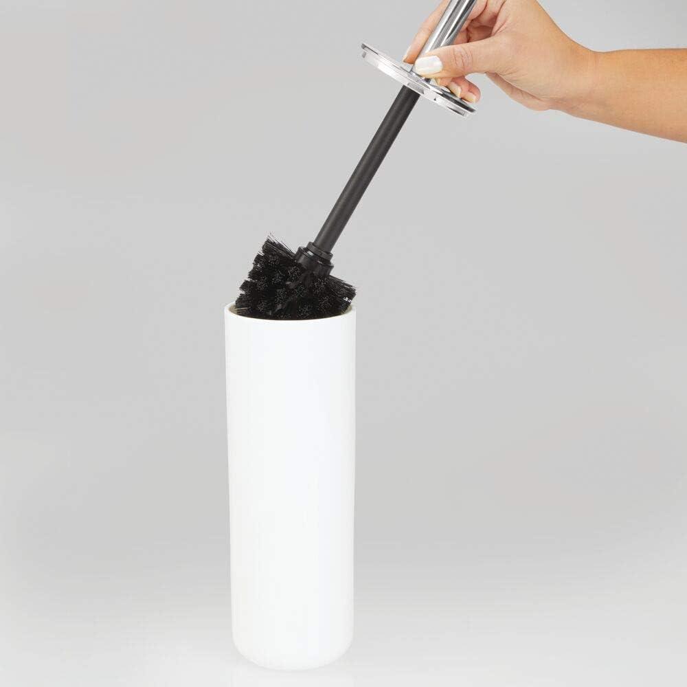 Moderno scopettino WC in plastica e metallo bianco//oro rosa mDesign Scopino bagno igienico e durevole Portascopino con spazzolone per bagni di ogni dimensione