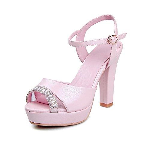 AmoonyFashion Women's High-Heels Soft Material Buckle Peep Toe B01I8YSTT8 Sandals with Glass Diamond B01I8YSTT8 Toe Parent e9499a