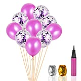 Multicolor Confetti Balloons,30pcs 12 Inches Party Balloons,with 1 Inflator 2 Bundles Ribbons (each 35″),Premium Slight smell Inflatable Color Balloons for Wedding Classroom Party Performance (Purple)