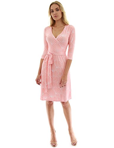 PattyBoutik Women Faux Wrap A Line Dress (Light Orange and White 30 Small)