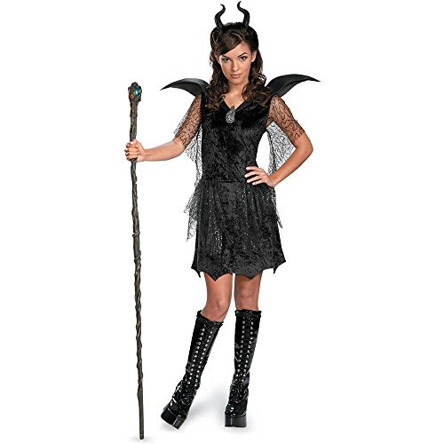 [Deluxe Maleficent Black Gown Teen/Junior Costume - Medium] (Maleficent Deluxe Gown Child Costumes)