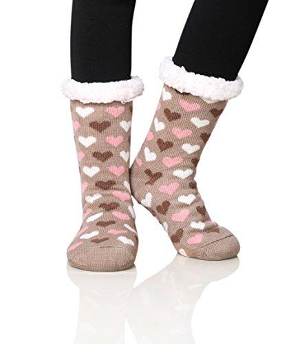 d095a9bccbb0 Dosoni Women's Fleece Lining Fuzzy Soft Christmas Knee Highs Stockings Slipper  Socks (Heart Coffee)