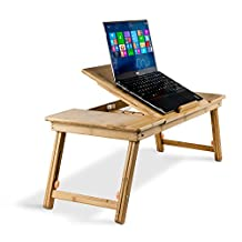 Aleratec Natural Bamboo Adjustable Laptop Stand Up to 15in Tablet Reading Table Desk