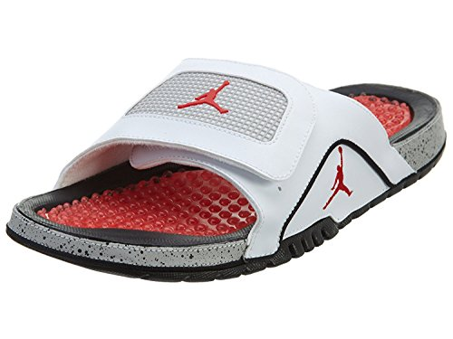 Jordan Nike Men's Hydro IV Retro White/Fire Red/Black/Tech Grey Sandal 9 Men US