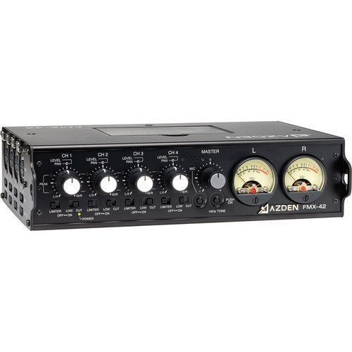 - Azden FMX-42 Pro 4-Channel Microphone Field Mixer with 4 XLR Inputs.