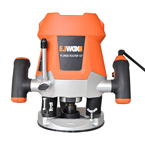 (EJWOX 12-Amp Variable Speed Plunge Router Heavy Duty Woodworking Router Kit with Edge Guide)