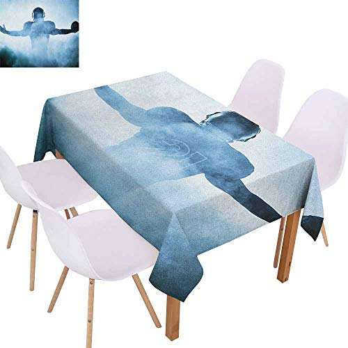 Marilec Waterproof Tablecloth Sport Heroic Shaped Rugby Player Silhouette Shadow Standing in Fog Playground Global Sports Photo Party W60 xL84 Blue