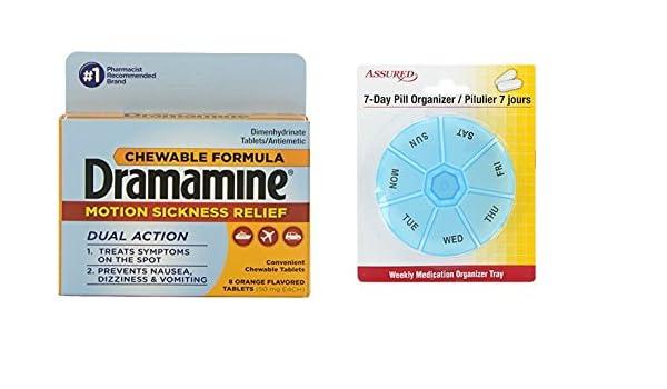 Amazon.com: Naranja, Dramamine mareo socorro tabletas masticables con sabor a, Conde 8 con gratis 7 días plástico píldora organizadores: Health & Personal ...