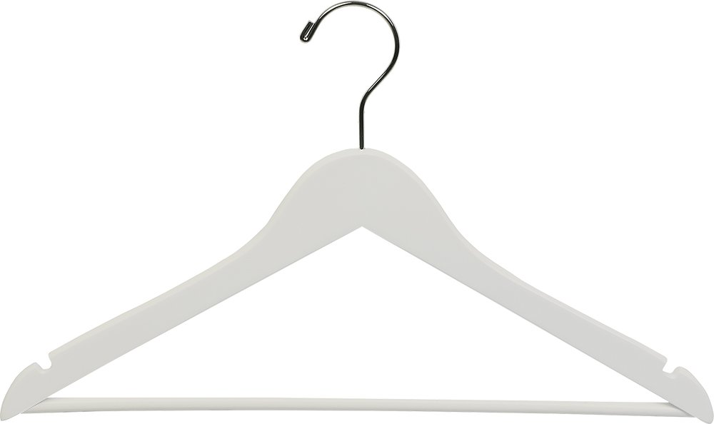 The Great American Hanger Company Wooden Suit Hangers, White/Chrome Finish, Box of 100 200212-100