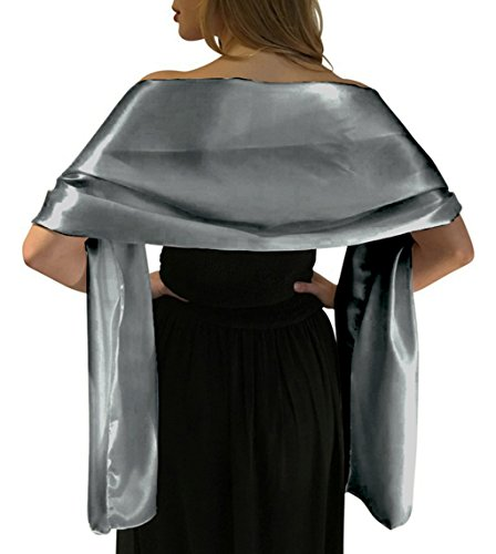 LANSITINA Women's Solid Color Satin Shawl Wraps for Evening Dress/Wedding Party,Silver