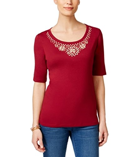Karen Scott Cotton Beaded-Neck Top (Daring Dynasty, XS) (Beaded Cotton Top)