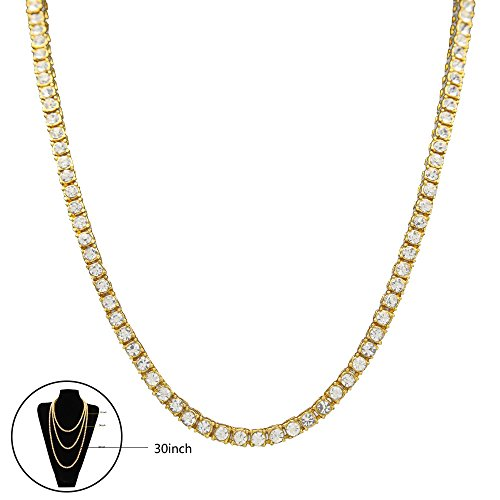"""Alloy Link Chain Necklace, leegoal(TM) Classic Necklace with Rhinestones, Electroplating and Polishing Process for Male and Female (Silver, 20"""") (gold, 30'') by Leegoal"""