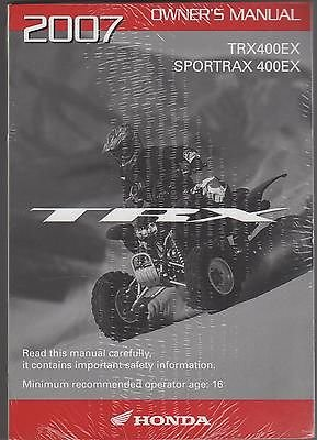 new 2007 honda atv trx400ex sportrax 400ex owners manual rh amazon com 2001 honda 400ex owners manual pdf 400ex service manual free download