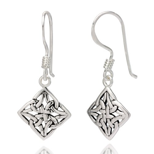 925 Oxidized Sterling Silver Square Celtic Knot Dangle Hook Earrings (Sterling Silver Design Square)