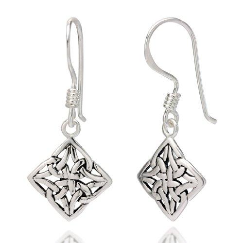 925 Oxidized Sterling Silver Square Celtic Knot Dangle Hook Earrings