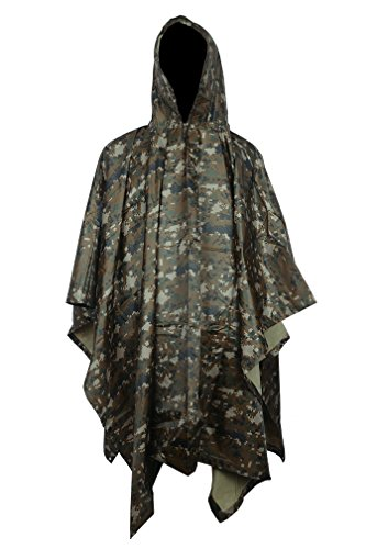 [Vcansion Men's Rain Poncho Outdoor Multifunction Military Raincoat Digital Jungle] (Yellow Rain Jacket Costume)