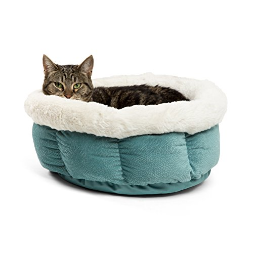 (Best Friends by Sheri Small Cuddle Cup - Cozy, Comfortable Cat and Dog House Bed - High-Walls for Improved Sleep, Tidepool)