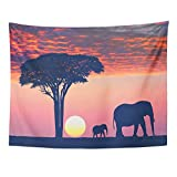 Monicago Art Decor Wall, Tapestry Wall Hanging, Beautiful Sunset in The Serengeti Park Acacia Tree and Family of Elephants 60' x 80' Home Decor Art Tapestries for Bedroom Living Room Dorm Apartment