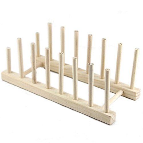Whitelotous Multi-purpose Wooden Plate Rack Wood Stand Display Holder Lid Organizer Rack
