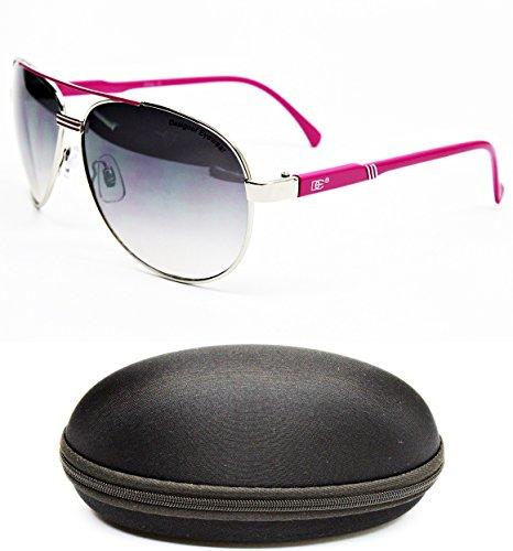 D1044-CC Designer Eyewear Aviator Sunglasses (711 Silver/Pink, - 711 Sunglasses