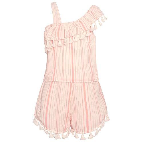 Rare Editions Little Girls Pink Stripe Asymmetrical Ruffle Tassel Romper 2T ()
