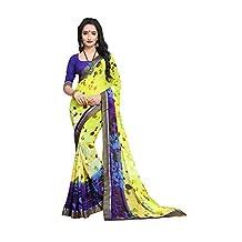 PCC Indian Women Saree Designer Party wear Wedding Blue and Yellow Color Sari R-18484