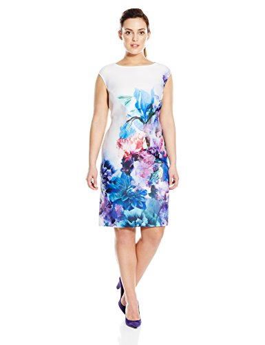 Julia Jordan Women's Plus-Size Placement Floral Sheath Dress, Blue/Purple, 18W by Julia Jordan