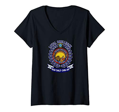 Womens USS Nimitz CVN-68 Golden Shellback Logo V-Neck T-Shirt