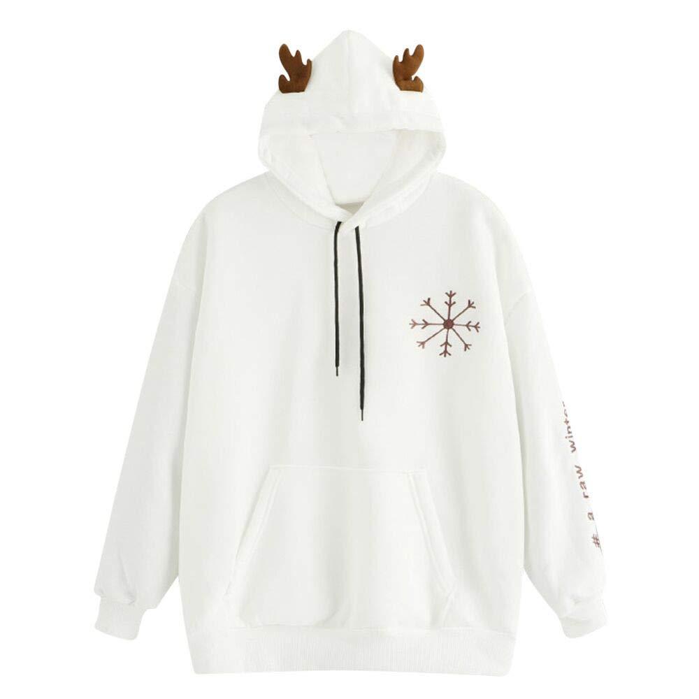 Yvelands Suéteres para Mujeres, Sudaderas para Mujeres Sudaderas con Capucha de Invierno Algodón O-Cuello de Manga Larga Camisa Informal, ...