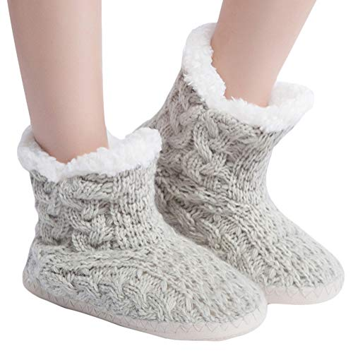 MaaMgic Womens Fuzzy Soft House Slippers Girls Fluffy Bedroom Indoor Winter Slippers Grey