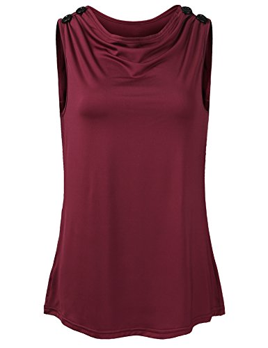 Concep Women's Solid Sleeveless Blouse Ruched V Cowl Neck Stretch Tank Top (Wine Red L)