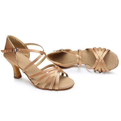 Csodance Femmes Satin Salsa Salle De Bal Danse Latine Chaussures Talon 2,76 Pouces Beige