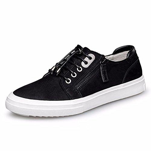 Moonwalker Men's Full Grain Leather Side Zipper Fashion Sneakers (11.5 D(M) US,Black)