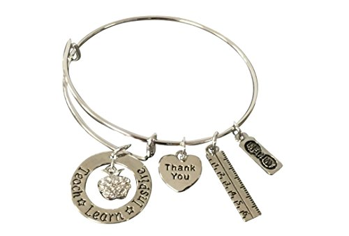 Teacher Bangle Bracelet- Teacher Jewelry, Teacher Gift, Show Your Teacher Appreciation Thank You Gifts for Teachers