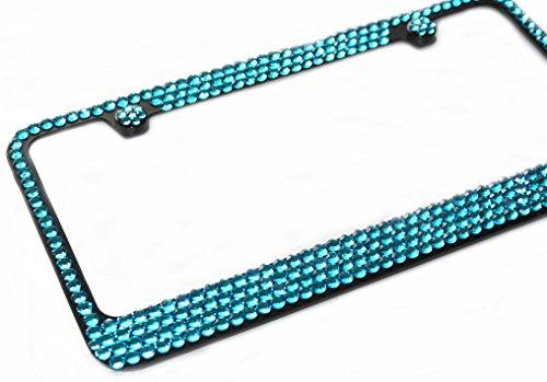 4 Row TURQUOISE BLUE MEGA BLING Rhinestone Diamond Crystal on BLACK License Plate Frame & Caps Set
