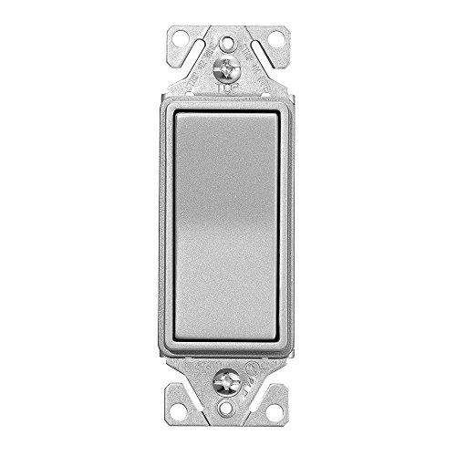 EATON 7501SG-K-L Wiring 3-Way Decorator Switch, 120/277 Vac, 15 A, 1 Pole, 5.833 In L X 3.85 In W X 1.83 In D, Silver Granite