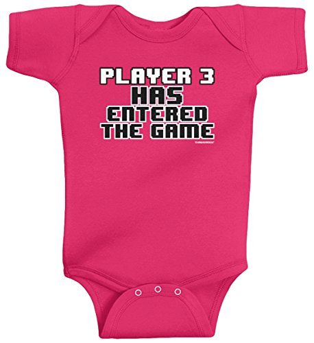 Threadrock Baby Girls' Player 3 Has Entered the Game Infant Bodysuit 6M Hot Pink
