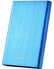 Externe harde schijf, draagbare externe harde schijf, 1 TB, 2 TB, slanke harde schijf, compatibel met PC, laptop en Mac (2 TB, blauw)