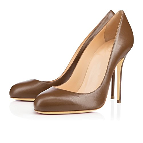 elashe Brown Dress Wedding Toe Classic Round Stiletto Pumps Heel Pumps High Womens Pumps Sexy 10cm CwqrC16