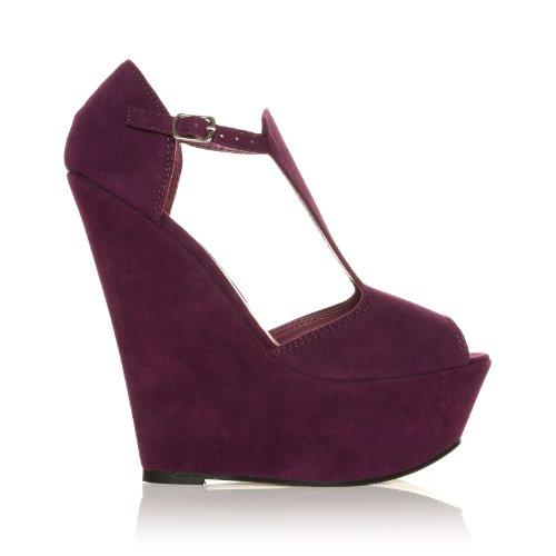 ShuWish UK ENYA Purple Faux Suede Wedge Very High Heel Platform Peep Toes mEG5sTU