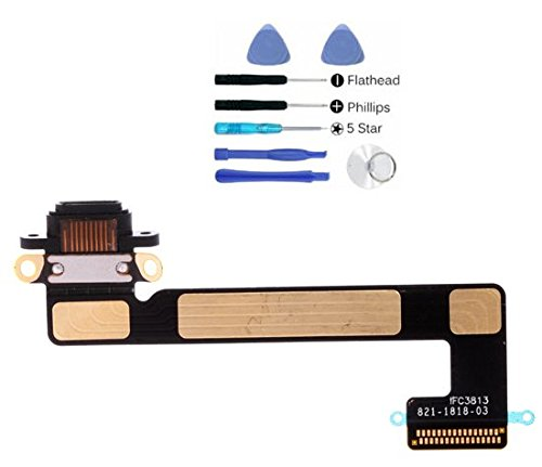 (md0410) Ipad Mini 2 & 3 Black usb micro charging port charge dock connector charger flex ribbon cable Replacement Part + Tools Kit by md0410