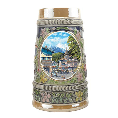 """Summer In Germany"" Essence of Europe Gifts E.H.G. Collectible Ceramic Shot Glass Mini Beer Stein (#1 in Collection of Four Shot Steins) ()"