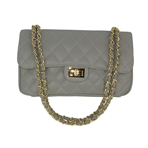 Dark Gold Italian Inspired Designer Trims Handbag Quilted Taupe with Grey Leather wHHYx4zZ