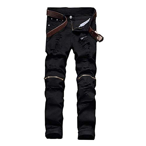 Unita Comode Da Jeans Slim Uomo Denim Vintage Cargo Black06 Fashion Strappato Abiti Pants Taglie Skinny Tinta Pantaloni Casual Biker wtay8xBY